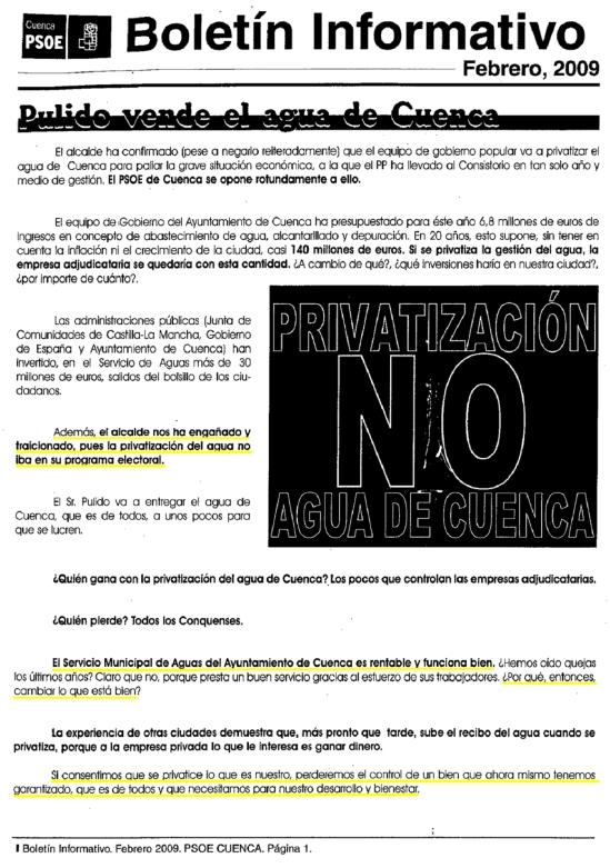 panfleto psoe 2009 contra privatización agua SUBRAYADO